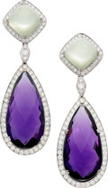 Estate Jewelry:Earrings, Amethyst, Moonstone, Diamond, White Gold Earrings, Eli Frei. ...(Total: 2 Items)