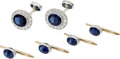 Estate Jewelry:Suites, Sapphire, Diamond, Platinum, Gold Dress Set. ... (Total: 6 Items)