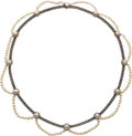 Estate Jewelry:Necklaces, Natural Pearl, Diamond, Silver-Topped Gold Necklace, French. ...