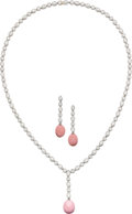 Estate Jewelry:Suites, Conch Pearl, Diamond, Platinum Jewelry Suite, Tiffany & Co.. ... (Total: 3 Items)
