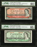 Canadian Currency: , BC-37d $1 1954. BC-38b $2 1954. ... (Total: 2 notes)
