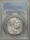 Coins of Hawaii , 1883 $1 Hawaii Dollar -- Cleaning -- PCGS Genuine. XF Details. NGCCensus: (67/305). PCGS Population: (174/481). CDN: $500 ...