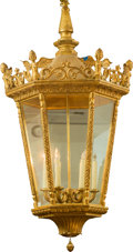 Paintings, A Large Louis XVI Style Glazed Giltwood Six-Light Lantern, 20th century. 56 inches high (142.2 cm). ...