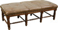 Furniture , A Tufted Leather Upholstered Oak Bench, 20th century. 20 h x 61 w x 26-1/2 d inches (50.8 x 154.9 x 67.3 cm). ...