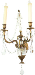 Decorative Arts, French, A Pair of Louis XVI-Style Gilt Bronze and Cut-Glass Two-LightSconces, late 19th century and later. 22-1/2 h x 14 w x 11 d i...(Total: 2 Items)