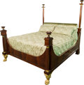 Furniture , A Large Empire-Style Gilt Bronze Mounted and Partial Gilt Mahogany Bedstead, late 20th century. 88-1/2 h x 83 w x 98 d inche...