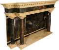 Furniture , A Large Neoclassical-Style Variegated Marble Fireplace Hearth. 55-3/4 h x 88-1/4 w x 25-1/4 d inches (141.6 x 224.2 x 64.1 c...