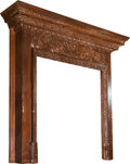 Furniture , A Continental Carved Pine Fireplace Mantle. 50 h x 52 w x 9 d inches (127 x 132.1 x 22.9 cm). ...