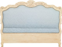 A Rococo-Style Painted Wood and Upholstered Headboard, 20th century 64 x 48-1/2 inches (162.6 x 123.2 cm) </