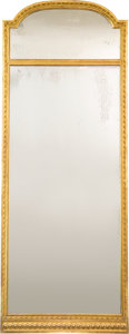 Furniture : French, A Louis XVI-Style Giltwood Mirror, 19th century. 70-1/2 h x 27 w x1-1/8 d inches (179.1 x 68.6 x 2.9 cm). ...
