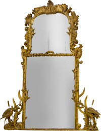 A Large and Fine English Chippendale Carved Giltwood Mirror, 18th century with restorations 70-1/2 h x 60 w x 7 d