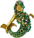 Estate Jewelry:Brooches - Pins, Diamond, Colored Diamond, Enamel, Gold Brooch, David Webb. ...