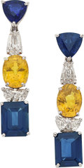 Estate Jewelry:Earrings, Sapphire, Diamond, White Gold Earrings, Naina. ... (Total: 2 Items)