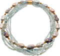 Estate Jewelry:Necklaces, Aquamarine, Freshwater Cultured Pearl, Gold Necklace. ...