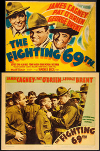 "The Fighting 69th (Warner Brothers, 1940). Trimmed Linen Finish Title Lobby Card (10"" X 13"") & Linen Finis..."