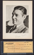 """Movie Posters:Miscellaneous, Clark Gable Lot (MGM, 1940s). Fan Club Photo (8.5"""" X 11"""") & Voided Signed Check (3.25"""" X 8.25""""). Miscellaneous.. ... (Total: 2 Items)"""