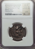 Ancients:Greek, Ancients: MACEDONIAN KINGDOM. Alexander III the Great (336-323 BC).AR tetradrachm (17.16 gm). NGC Choice VF 4/5 - 2/5, scuffs...