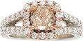 Estate Jewelry:Rings, Fancy Pink-Brown Diamond, Diamond, Platinum, Pink Gold Ring. ...