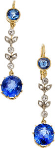 Estate Jewelry:Earrings, Sapphire, Gold, Silver-Topped Gold Earrings. ... (Total: 2 Items)