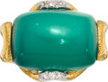 Estate Jewelry:Rings, Chrysoprase, Diamond, Gold, Platinum-Topped Gold Ring, David Webb....
