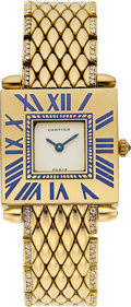 Estate Jewelry:Watches, Cartier Lady's Diamond, Enamel, Gold Watch. ...
