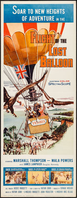 """Flight of the Lost Balloon (Woolner Brothers, 1961). Insert (14"""" X 36""""). Adventure"""