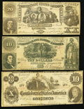 Confederate Notes:1861 Issues, CSA - Lot of 3 1861 (2) and 1862 Circulated Notes.. ... (Total: 3notes)