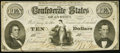 Confederate Notes:1861 Issues, CSA - T-25 1861 $10 Very Fine.. ...
