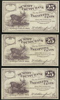 Obsoletes By State:Ohio, Cuyahoga Falls, OH- W.A. Hanford at Summit County Bank 25¢ 1862,Three Examples. ... (Total: 3 notes)