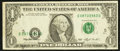 Error Notes:Shifted Third Printing, Fr. 1918-E $1 1993 Federal Reserve Note. Very Fine.. ...