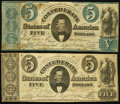 Confederate Notes:1861 Issues, CSA - Lot of 2 Sept. 2, 1861 Memminger Portrait $5 Notes.. ...(Total: 2 notes)