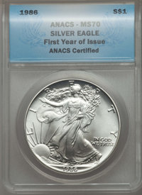 1986 $1 Silver Eagle, First Year of Issue MS70 ANACS. MS70. Mintage 5,393,005....(PCGS# 612757)