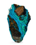 Lapidary Art:Carvings, Polished Chrysocolla Slab. Bagdad Copper Mine. YavapaiCounty. Arizona. 3.21 x 1.90 x 0.22 inches (8.15 x4.82...