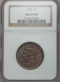1855 1C Upright 55, MS64 Brown NGC. NGC Census: (105/110). PCGS Population: (135/60). CDN: $345 Whsle. Bid for problem-f...