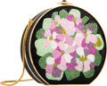 "Luxury Accessories:Bags, Judith Leiber Full Bead Black & Pink Crystal Floral MinaudiereEvening Bag. Very Good Condition. 5"" Width x 4.5""Heigh..."