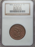 Large Cents, 1856 1C Slanted 5, N-14, R.1, MS64 Brown NGC. NGC Census: (12/5). PCGS Population: (3/1). CDN: $345 Whsle. Bid for problem-...