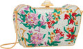"""Luxury Accessories:Bags, Judith Leiber Full Bead Multicolor Crystal Floral RectangularMinaudiere Evening Bag. Very Good Condition. 5.5"""" Width..."""