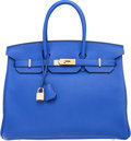 "Luxury Accessories:Bags, Hermes 35cm Blue Electric Togo Leather Birkin Bag with GoldHardware. Q Square, 2013 . Pristine Condition .14"" Wi..."