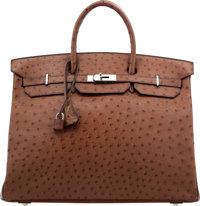 Hermes 40cm Noisette Ostrich Birkin Bag with Palladium Hardware D Square, 2000 Very Good to Excel