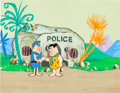 Animation Art:Production Cel, The Flintstones Fred and Policeman Production Cel and MasterBackground Setup (Hanna-Barbera, c. 1960s)....