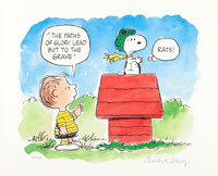 """Charles Schulz Peanuts """"The Flying Ace"""" Linus and Snoopy Signed Limited Edition Print #447/500 (United Feature..."""