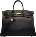 "Luxury Accessories:Bags, Hermes 40cm Black Calf Box Leather Birkin Bag with Gold Hardware.Z Circle, 1996. Very Good Condition. 15.5""Width..."