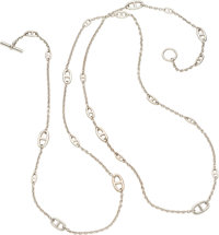 """Hermes 160cm Sterling Silver Farandole Necklace Very Good to Excellent Condition .5"""" Width x 63"""" Length&lt..."""