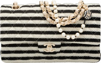 Chanel Quilted Black & White Striped Cotton Knit Coco Sailor Double Flap Bag Pristine Condition 1