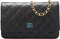 "Luxury Accessories:Bags, Chanel Black Quilted Caviar Leather Wallet on Chain Bag.Pristine Condition. 7.5"" Width x 5"" Height x 1""Depth. ..."