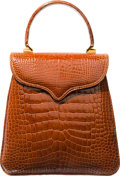 """Luxury Accessories:Bags, Lana Marks Shiny Cognac Brown Alligator Princess Diana Bag. Excellent Condition. 9"""" Width x 9"""" Height x 3.5"""" Depth. ..."""