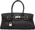 Luxury Accessories:Bags, Hermes 42cm Black Clemence Leather JPG Shoulder Birkin Bag withPalladium Hardware. I Square, 2005. Very GoodConditio...