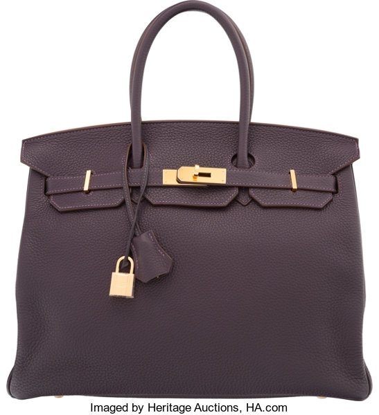 abbdfbbe52 Hermes 35cm Raisin Clemence Leather Birkin Bag with Gold