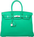 Luxury Accessories:Bags, Hermes 35cm Menthe Clemence Leather Birkin Bag with Palladium Hardware. P Square, 2012. Excellent to Pristine Conditio...