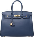 "Luxury Accessories:Bags, Hermes 35cm Blue Saphir Clemence Leather Birkin Bag with Gold Hardware. Q Square, 2013. Pristine Condition. 14"" Width x 10..."